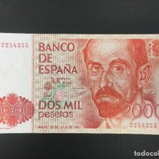 Billetes españoles: 2000 PTS 22 JULIO 1980 SIN SERIE PLANCHA. Lote 176216308