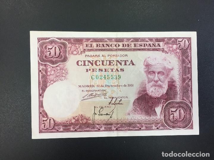 50 PTS 31 DICIEMBRE 1951 CON SERIE EBC- (Numismática - Notafilia - Billetes Españoles)