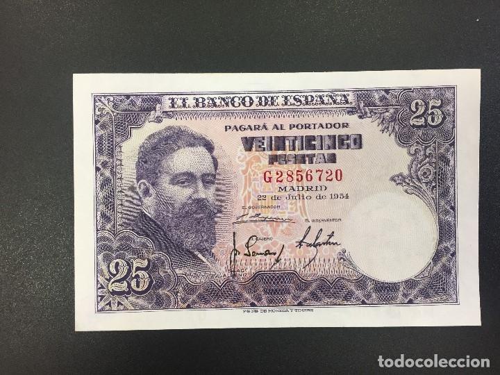25 PTS 22 JULIO 1954 CON SERIE PLANCHA (Numismática - Notafilia - Billetes Españoles)