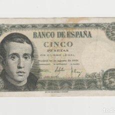 Billetes españoles: 5 PESETAS- 16 DE AGOSTO DE 1951. Lote 176267678