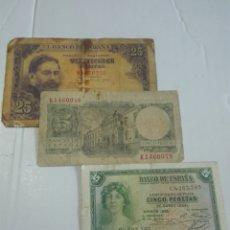 Billetes españoles: LOTE 3 BILLETES ESPAÑOLES. Lote 176321755