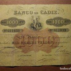 Billetes españoles: 1000 REALES DE VELLON 1847 BANCO DE CADIZ - BC - CON NUMERACIÓN FECHA Y FIRMAS. Lote 176489085