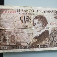 Billetes españoles: BILLETE DE CIEN PESETAS ESPAÑA 1965 SERIE E - 100 PESETAS. Lote 176792262