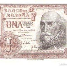 Billetes españoles: BILLETE DE ESPAÑA DE 1 PESETA DE 1953 CIRCULADA MARQUES DE SANTA CRUZ. Lote 176836273