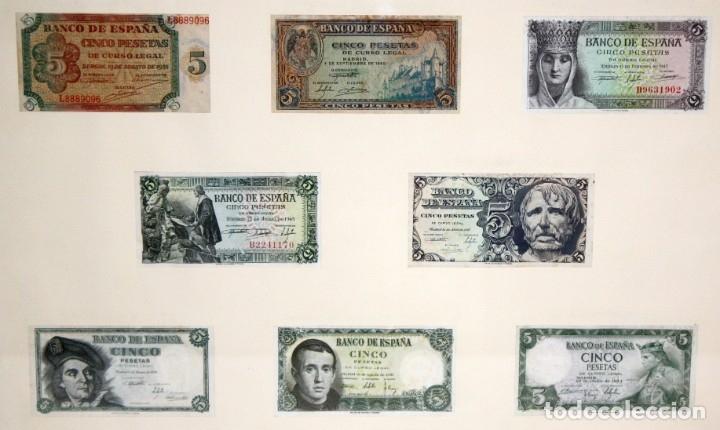 CONJUNTO DE 8 BILLETES DE 5 PESETAS DE DIFERENTES AÑOS... BURGOS 1938 - MADRID 1940, ETC.... (Numismática - Notafilia - Billetes Españoles)