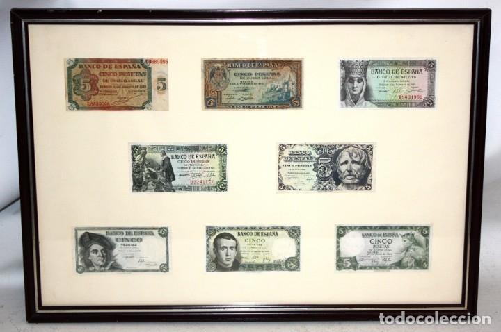 Billetes españoles: CONJUNTO DE 8 BILLETES DE 5 PESETAS DE DIFERENTES AÑOS... BURGOS 1938 - MADRID 1940, ETC.... - Foto 2 - 176982724