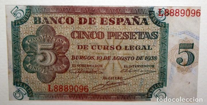 Billetes españoles: CONJUNTO DE 8 BILLETES DE 5 PESETAS DE DIFERENTES AÑOS... BURGOS 1938 - MADRID 1940, ETC.... - Foto 3 - 176982724