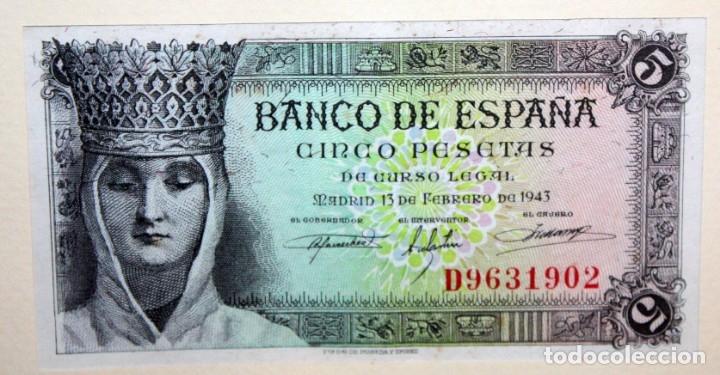Billetes españoles: CONJUNTO DE 8 BILLETES DE 5 PESETAS DE DIFERENTES AÑOS... BURGOS 1938 - MADRID 1940, ETC.... - Foto 5 - 176982724