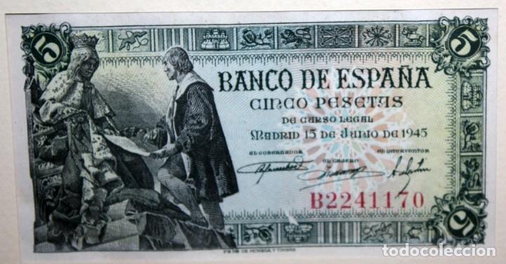 Billetes españoles: CONJUNTO DE 8 BILLETES DE 5 PESETAS DE DIFERENTES AÑOS... BURGOS 1938 - MADRID 1940, ETC.... - Foto 7 - 176982724