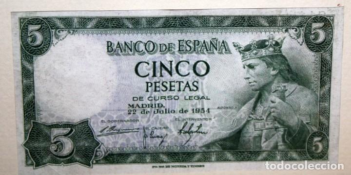 Billetes españoles: CONJUNTO DE 8 BILLETES DE 5 PESETAS DE DIFERENTES AÑOS... BURGOS 1938 - MADRID 1940, ETC.... - Foto 10 - 176982724