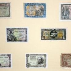 Billetes españoles: CONJUNTO DE 8 BILLETES DE 1 Y 2 PESETAS DE DIFERENTES AÑOS... 1 BURGOS 1940 - 2 BURGOS 1938, ETC... Lote 176983132