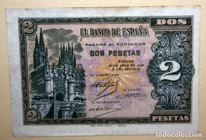 Billetes españoles: CONJUNTO DE 8 BILLETES DE 1 Y 2 PESETAS DE DIFERENTES AÑOS... 1 BURGOS 1940 - 2 BURGOS 1938, ETC.. - Foto 5 - 176983132