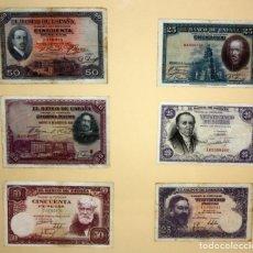 Billetes españoles: CONJUNTO DE 6 BILLETES DE 25 Y 50 PESETAS DE DIFERENTES AÑOS.... Lote 176983424