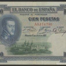Billetes españoles: J.B. 100 PESETAS JULIO 1907 , SERIE A , EDIFIL B127 , CON SELLO EN SECO DE LA REPÚBLICA ESPAÑOLA. Lote 176998805