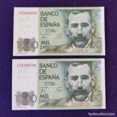 Billetes españoles: 2 BILLETES ORIGINALES DE 1000 PESETAS. 1979. SIN CIRCULAR. PLANCHA. PAREJA CORRELATIVA. PÉREZ GALDOS. Lote 177661423