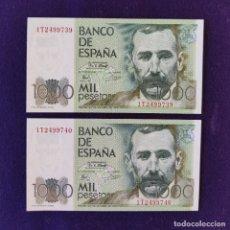 Billetes españoles: 2 BILLETES ORIGINALES DE 1000 PESETAS. 1979. SIN CIRCULAR. PLANCHA. PAREJA CORRELATIVA. PÉREZ GALDOS. Lote 177661472