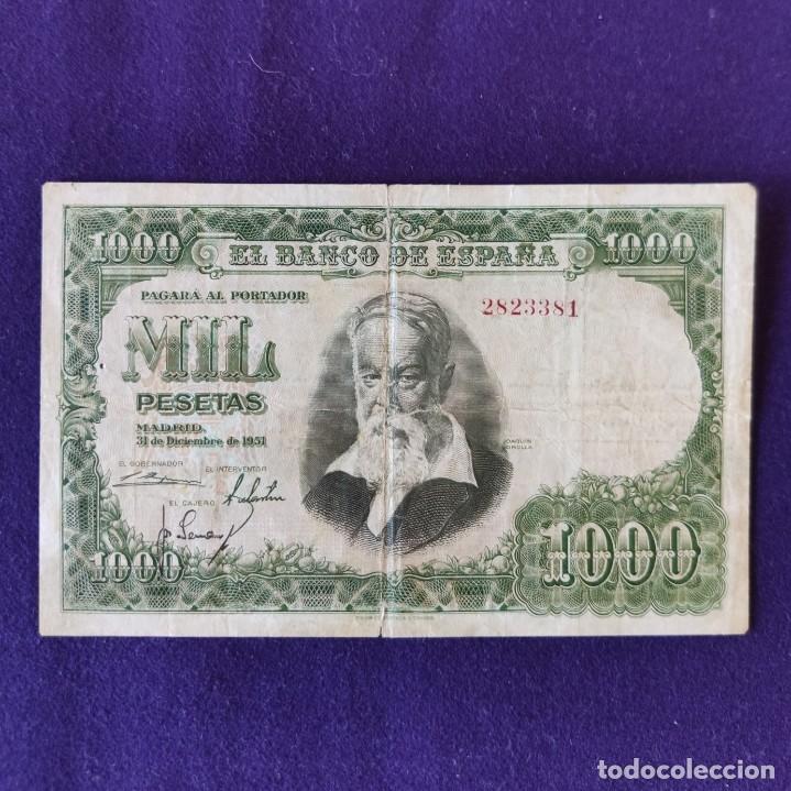 BILLETE ORIGINAL DE 1000 PESETAS. 1951. USADO. JOAQUÍN SOROLLA. (Numismática - Notafilia - Billetes Españoles)