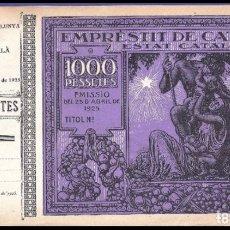 Billetes españoles: EMPRESTIT DE CATALUNYA. ESTAT CATALÀ. 1000 PESETAS 1925 CON MATRIZ.. Lote 177687582