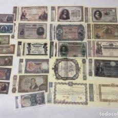 Banconote spagnole: LOTE 23 BILLETES ESPAÑA - DESDE 1780 A 1953 - PESETAS - REPRODUCCIONES / N-9227. Lote 177844872