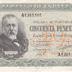 Billetes españoles: BILLETE DE 50 PESETAS DEL AÑO 1940 DE MENENDEZ PELAYO DE LA SERIE A EN CALIDAD EBC. Lote 177945994