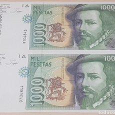 Billetes españoles: PAREJA CORRELATIVA DE BILLETES 1000 PESETAS / PTAS - 1992 - SIN SERIE - SC. Lote 195448666