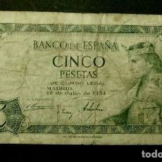 Billetes españoles: BILLETE DE 5 PESETAS (AÑO 1954) ALFONSO X - SERIE V CIRCULADO (ORIGINAL) ESTADO ESPAÑOL - VER FOTO. Lote 178041573