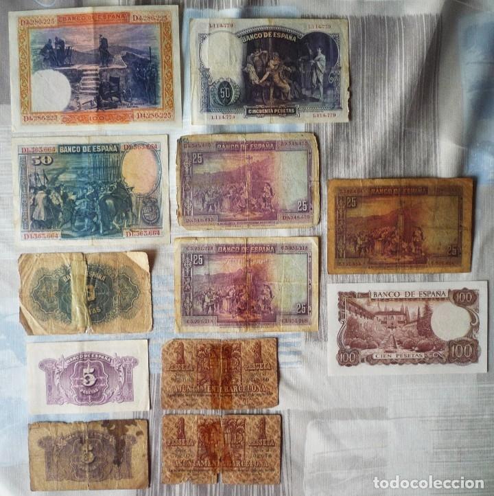 Billetes españoles: LOTE DE 12 BILLETES ESPAÑOLES - Foto 2 - 171250820