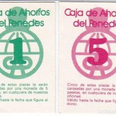 Billets espagnols: LOTE DE 2 VALES DE 1 Y 5 PESETAS DE CAJA DE AHORROS DEL PENEDES. Lote 178128365