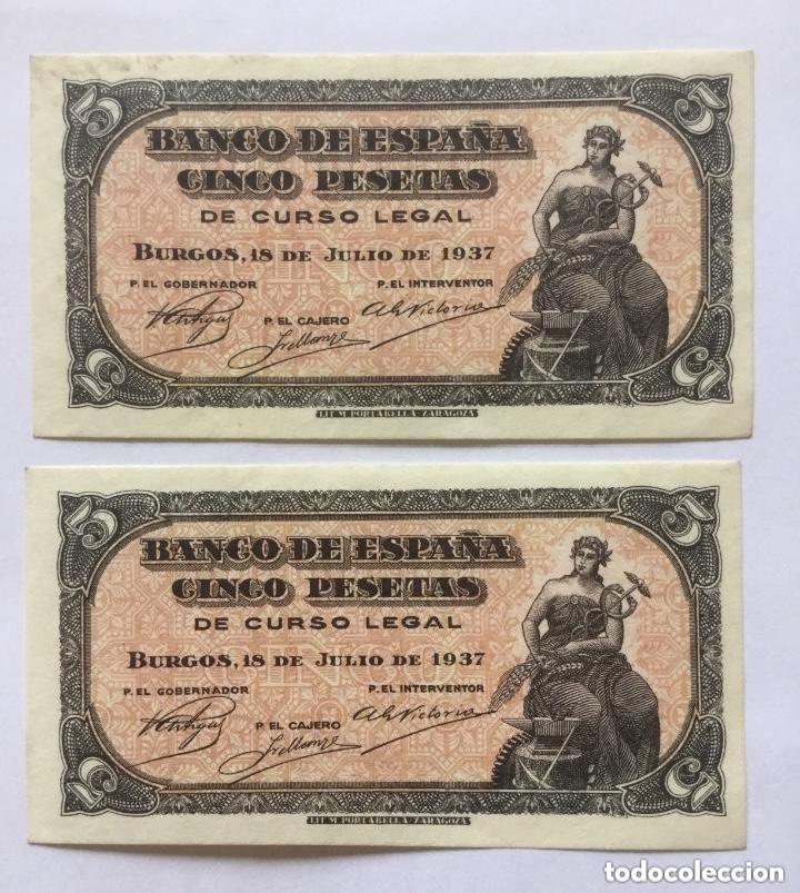 PAREJA CORRELATIVA - 5 PESETAS - 1937 - SERIE A - SIN CIRCULAR/SC- (Numismática - Notafilia - Billetes Españoles)