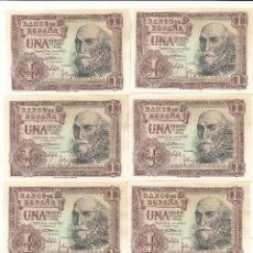 Billetes españoles: LOTE 8 BILLETES ORIGINALES CORRELATIVOS SIN CIRCULAR 1 PESETA 1953. Lote 178182895