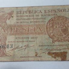 Billetes españoles: 1 PESETA. REPUBLICA ESPAÑOLA. 1937. SERIE B. Lote 178246966