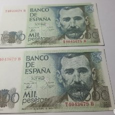 Billetes españoles: PAREJA BILLETES 1000 PESETAS CORRELATIVOS. PLANCHA. Lote 178248338