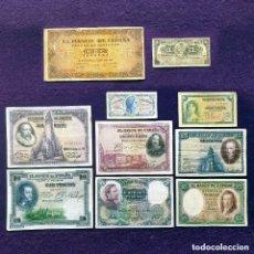 Billetes españoles: LOTE 10 BILLETES ESPAÑOLES ORIGINALES DIF. ALFONSO XIII.II REPUBLICA.GUERRA CIVIL.FRANCO.CUBA ESPAÑA. Lote 194698126