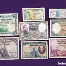 Billetes españoles: LOTE 8 BILLETES ESPAÑOLES ORIGINALES DIFERENTES. ALFONSO XIII, II REPUBLICA Y GUERRA CIVIL. ESPAÑA.. Lote 194698170