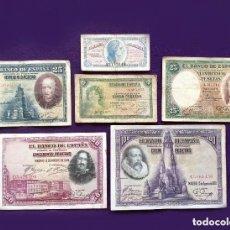 Billetes españoles: LOTE 6 BILLETES ESPAÑOLES ORIGINALES DIFERENTES. ALFONSO XIII, II REPUBLICA Y GUERRA CIVIL. ESPAÑA.. Lote 194698097
