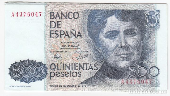 ESPAÑA: 500 PESETAS 1979 - SERIE A ROSALIA DE CASTRO CON SERIE CALIDAD EBC+ (Numismática - Notafilia - Billetes Españoles)