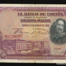 Billetes españoles: CINCUENTA PESETAS MADRID 15 DE AGOSTO 1928. Lote 178769298