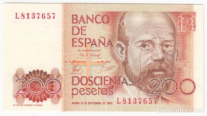 ESPAÑA 200 PESETAS 1980 LEOPOLDO ALAS CLARIN - EBC CON SERIE (Numismática - Notafilia - Billetes Españoles)