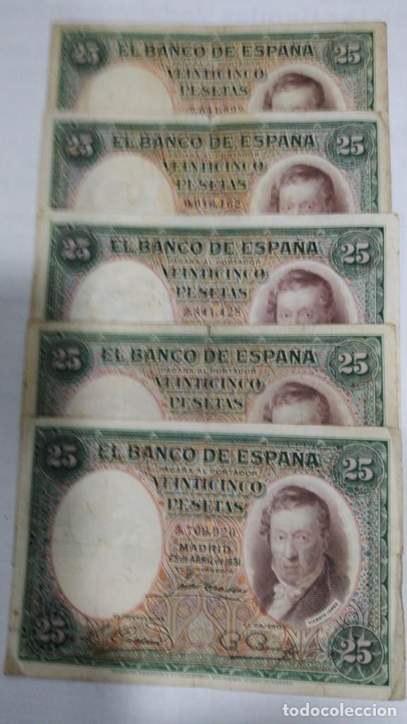 CINCO BILLETES 25 PESETAS. VICENTE LOPEZ. 1931. BC (Numismática - Notafilia - Billetes Españoles)