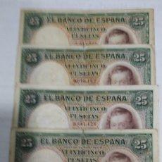 Billetes españoles: CINCO BILLETES 25 PESETAS. VICENTE LOPEZ. 1931. BC. Lote 178955592