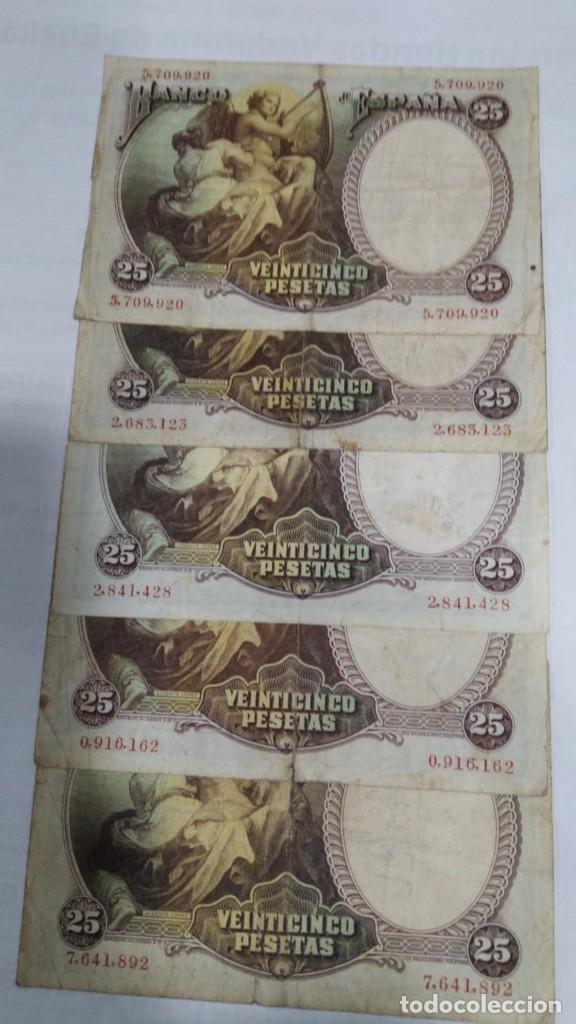 Billetes españoles: CINCO BILLETES 25 PESETAS. VICENTE LOPEZ. 1931. BC - Foto 2 - 178955592