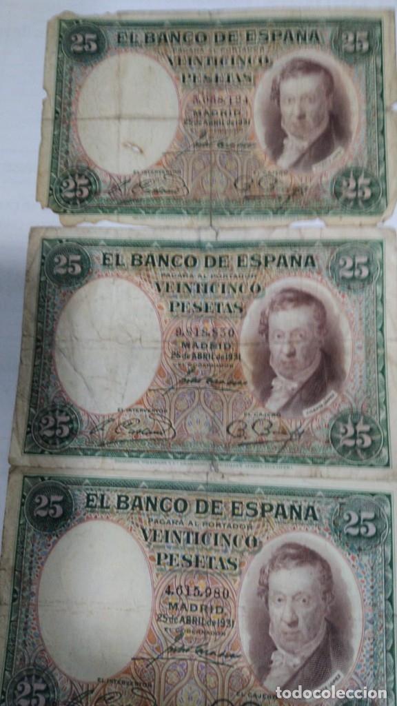 TRES BILLETES 25 PESETAS. VICENTE LOPEZ. 1931. BC-- (Numismática - Notafilia - Billetes Españoles)
