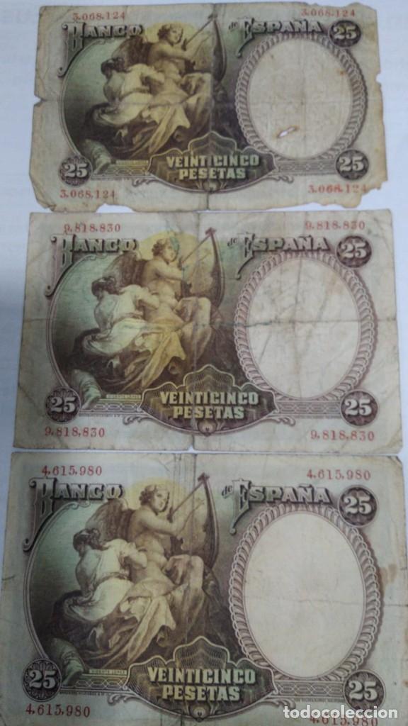 Billetes españoles: TRES BILLETES 25 PESETAS. VICENTE LOPEZ. 1931. BC-- - Foto 2 - 178955802