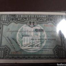 Billetes españoles: BILLETE DE ESPAÑA 100 PTAS. AÑO 1937 CON NUMERO DE SERIE. Lote 179113177