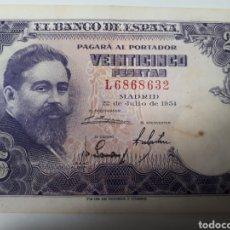Billetes españoles: BILLETE DE 25 PESETAS AÑO 1954. Lote 179205975