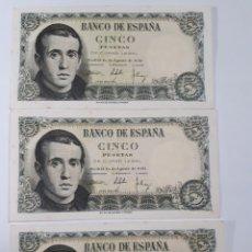 Billetes españoles: 3 BILLETES CORRELATIVOS EN PLANCHA DE 5 PESETAS AÑO 1951. Lote 179207001