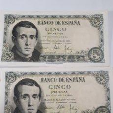 Billetes españoles: 2 BILLETES CORRELATIVOS EN PLANCHA DE 5 PESETAS AÑO 1951. Lote 179207112