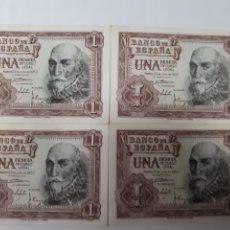 Billetes españoles: 4 BILLETES EN DE 1 PESETA PLANCHA CORRELATIVOS DE 1953. Lote 179207783