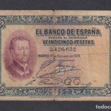 Billetes españoles: BANCO DE ESPAÑA. 25 PESETAS. 12 OCTUBRE 1926. SIN SERIE. Lote 179232013