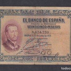 Billetes españoles: BANCO DE ESPAÑA. 25 PESETAS. 12 OCTUBRE 1926. SIN SERIE. Lote 179232610